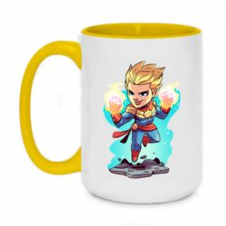 Кружка двухцветная 420ml Captain marvel hovers in the air