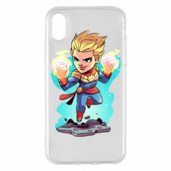 Чехол для iPhone X/Xs Captain marvel hovers in the air