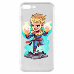 Чехол для iPhone 8 Plus Captain marvel hovers in the air