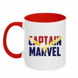 Кружка двоколірна 320ml Captain marvel inside star