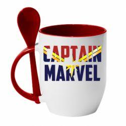 Кружка з керамічною ложкою Captain marvel inside star