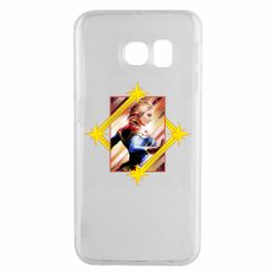 Чехол для Samsung S6 EDGE Captain marvel low poly