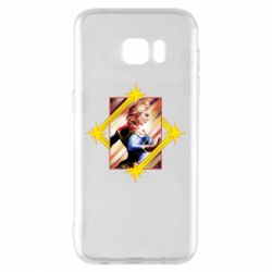 Чехол для Samsung S7 EDGE Captain marvel low poly