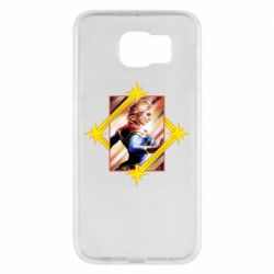 Чехол для Samsung S6 Captain marvel low poly