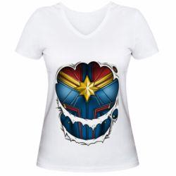 Жіноча футболка з V-подібним вирізом Captain Marvel's Costume