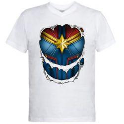 Чоловіча футболка з V-подібним вирізом Captain Marvel's Costume