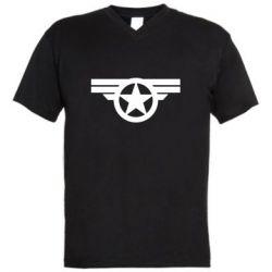 Мужская футболка  с V-образным вырезом Captain's Star
