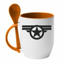 Кружка с керамической ложкой Captain's Star
