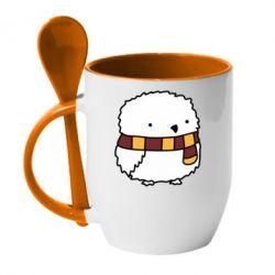 Кружка с керамической ложкой Cartoon Buckle
