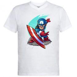 Мужская футболка  с V-образным вырезом Cartoon Captain America - FatLine