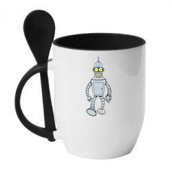Кружка з керамічною ложкою Cartoons The Robot Bender