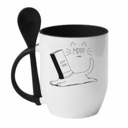 Кружка с керамической ложкой Cat and a box of milk