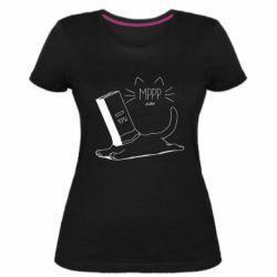 Женская стрейчевая футболка Cat and a box of milk