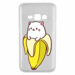 Чехол для Samsung J1 2016 Cat and Banana