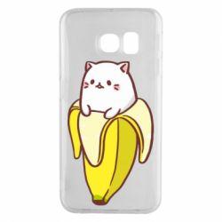 Чехол для Samsung S6 EDGE Cat and Banana