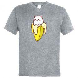 Мужская футболка  с V-образным вырезом Cat and Banana