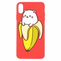 Чехол для iPhone X/Xs Cat and Banana