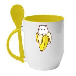Кружка с керамической ложкой Cat and Banana