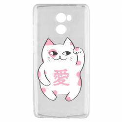 Чехол для Xiaomi Redmi 4 Cat and hieroglyphs