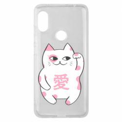 Чехол для Xiaomi Redmi Note 6 Pro Cat and hieroglyphs