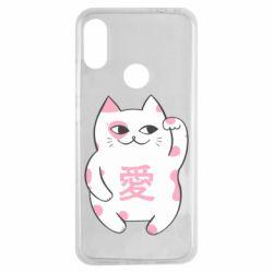 Чехол для Xiaomi Redmi Note 7 Cat and hieroglyphs