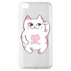 Чехол для Xiaomi Redmi Go Cat and hieroglyphs