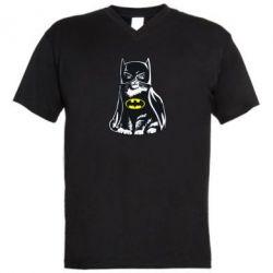 Мужская футболка  с V-образным вырезом Cat Batman - FatLine