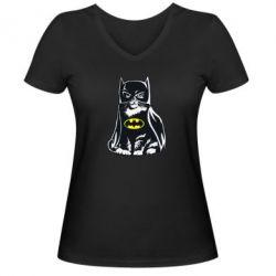 Женская футболка с V-образным вырезом Cat Batman - FatLine