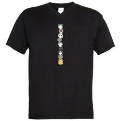 Мужская футболка  с V-образным вырезом Cat breeds