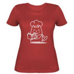 Женская футболка Cat cook