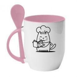 Кружка с керамической ложкой Cat cook