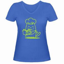 Женская футболка с V-образным вырезом Cat cook