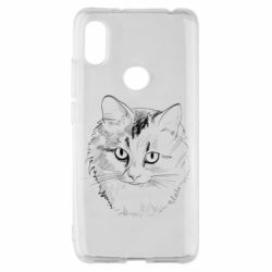 Чехол для Xiaomi Redmi S2 Cat drawing digital brush