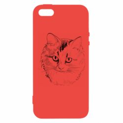Чехол для iPhone5/5S/SE Cat drawing digital brush