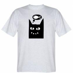 Мужская футболка Cat dreams of a fish