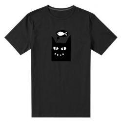 Мужская стрейчевая футболка Cat dreams of a fish