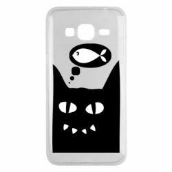 Чехол для Samsung J3 2016 Cat dreams of a fish