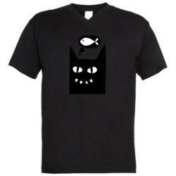 Мужская футболка  с V-образным вырезом Cat dreams of a fish