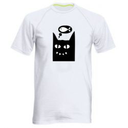 Мужская спортивная футболка Cat dreams of a fish