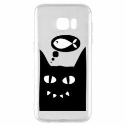 Чехол для Samsung S7 EDGE Cat dreams of a fish