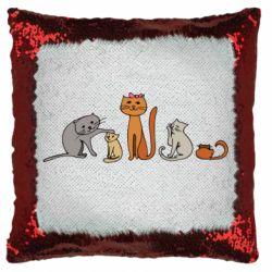 Подушка-хамелеон Cat family