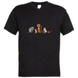 Мужская футболка  с V-образным вырезом Cat family