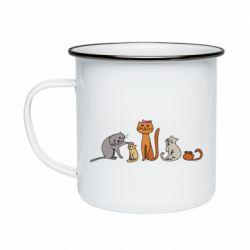 Кружка эмалированная Cat family
