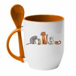 Кружка с керамической ложкой Cat family