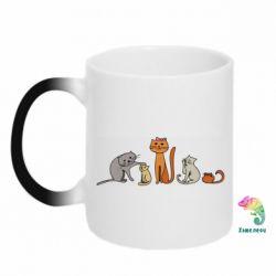 Кружка-хамелеон Cat family