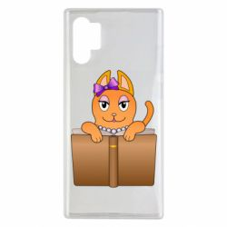 Чехол для Samsung Note 10 Plus Cat girl and book