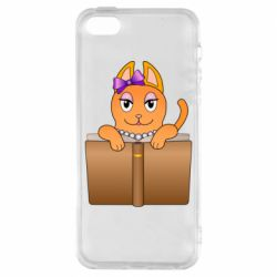 Чехол для iPhone5/5S/SE Cat girl and book