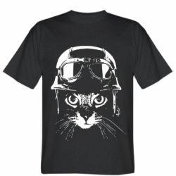 Чоловіча футболка Cat in a helmet silhouette