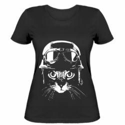 Жіноча футболка Cat in a helmet silhouette