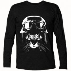 Футболка з довгим рукавом Cat in a helmet silhouette